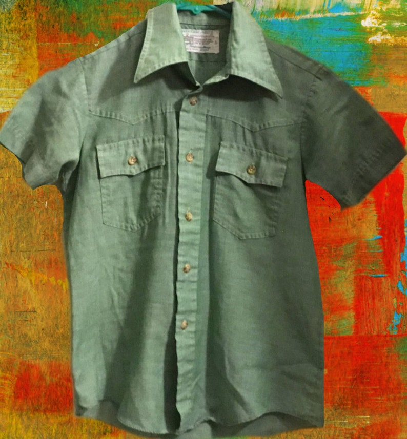 uk availability 2796b 6c956 Vintage Childrens Clothing Youth Size 5 KMART Youth Sz 5/6 Vintage 1970's  Green Pocket Front Short Sleeve Shirt Made in Korea