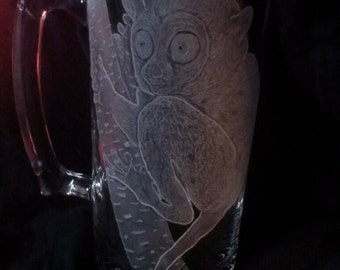 Tarsier Monkey Hand Engraved on 27 0z Glass Mug
