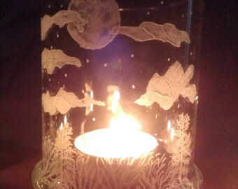 Midnight Sky Hand Engraved on Glass Candle Holder