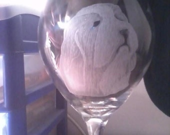 Old English Sheep dog engraved on a wine glass (made to order)