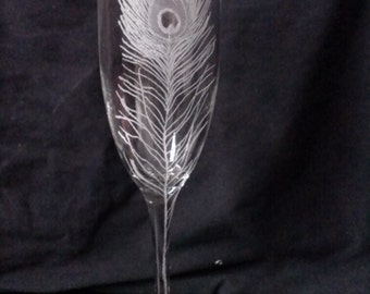 Peacock Feather Hand Engraved on 9oz Champagne Flute