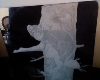 "Pine Marten on snow covered tree engraved on a 12"" by 12"" mirror. (made to order)"