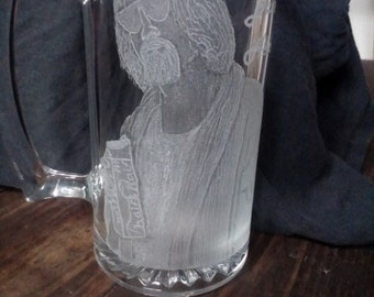 The Dude from The Big Lebowski hand engraved on 27oz glass mug (Made to order)
