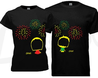 Couple T-shirt - his and hers. Fireworks theme - black. Unique gifts for couples Valentine's, Anniversary, Wedding, Newly weds, Honey Moon