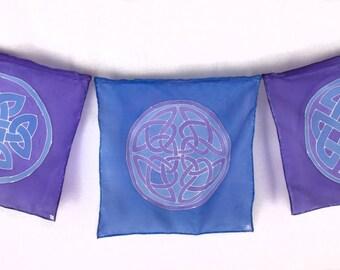"Handpainted Silk Celtic Knotwork ""Prayer"" Flags in Purple and Periwinkle"