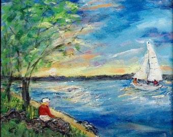 Grand Traverse Bay - 2 - Original Art 18 X 18 Acrylic Painting - FRAMED