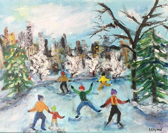 Skaters on City Pond, Chicago - Original Painting on thick canvas 11 X 14 inches