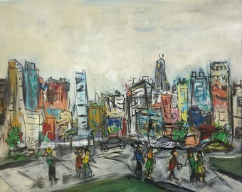 Busy City - 16 X 20 Matted Original Painting