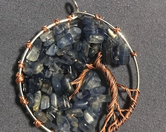 Kyanite Tree of Life wire wrapped pendant