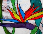 Strelitzia Stained glass panel Bird of paradise Crane flower 4 panels Wall glazing Wall hanging Wall decor Glass art Handmade