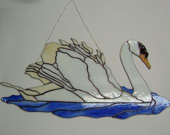 Swan Stained glass suncatcher Ugly duckling Wall hanging Window panel Swan wall art Bird Bird lover gift White bird Handmade