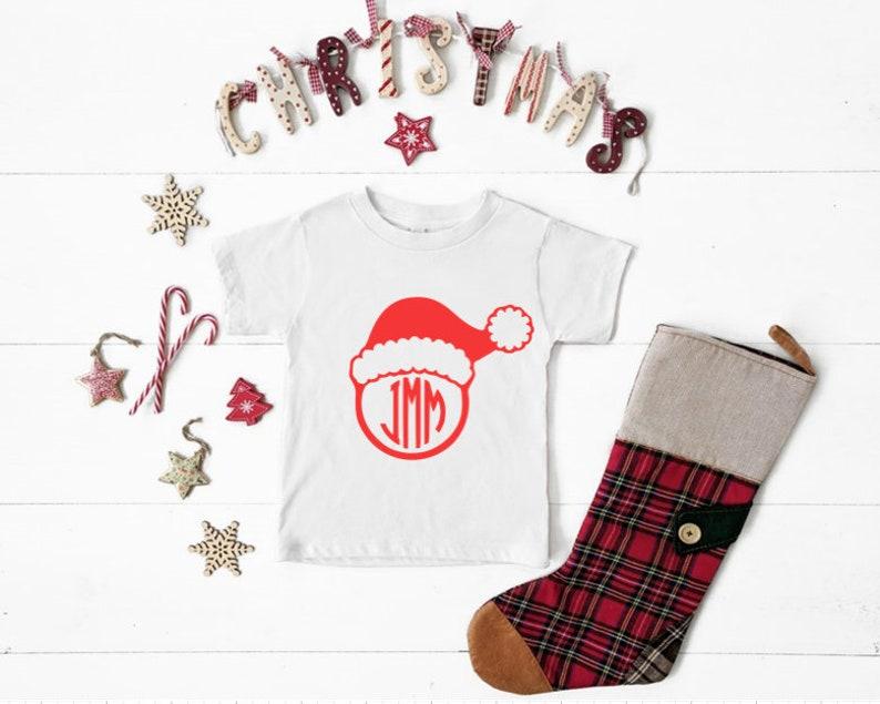 Santa Hat Monogram Youth Unisex Jersey Short-Sleeve T-Shirt image 0