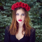 Red Rose Crown, Rose Crown, Flower Crown, Red Floral Crown, Rose Headband, Boho Headband, Red Rose Headband, Gothic Crown, Floral Crown