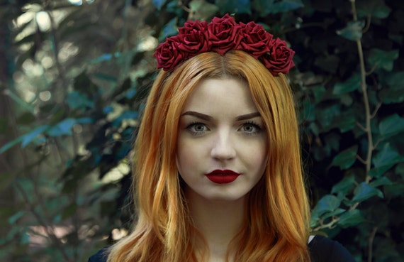 Burgundy Rose Flower Crown, Rose Headband, Red Flower Crown, Flower Crown, Red Rose Crown, Flower Headband, Rose Headband, Festival Crown by Etsy