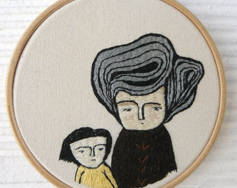 Hand embroidery. Portrait woman with her son. Hoop art. 11 cm