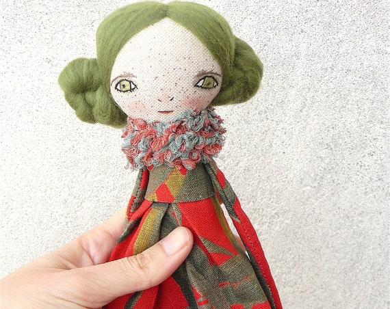 Art doll in cotton and linen. Wool hair. 30 cm. Long hair