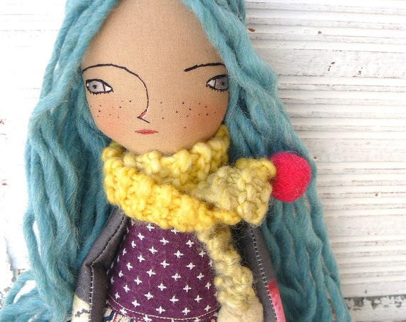 New more stylized model. Art doll in cotton. Blue wool hair. 16 inches.