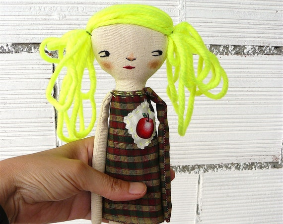 Art doll. Fluor hair. Hand embroidered. 28 cm