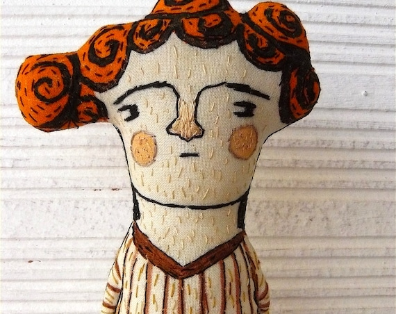 Soft sculpture embroidered and hand painted. Mixed media. Androgynous. 28 cm.
