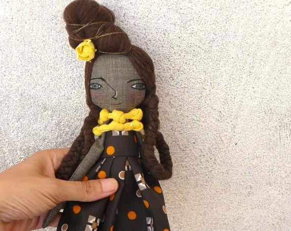 Art doll in cotton and linen. 35 cm. Black doll. Black cloth doll. Black fabric doll.