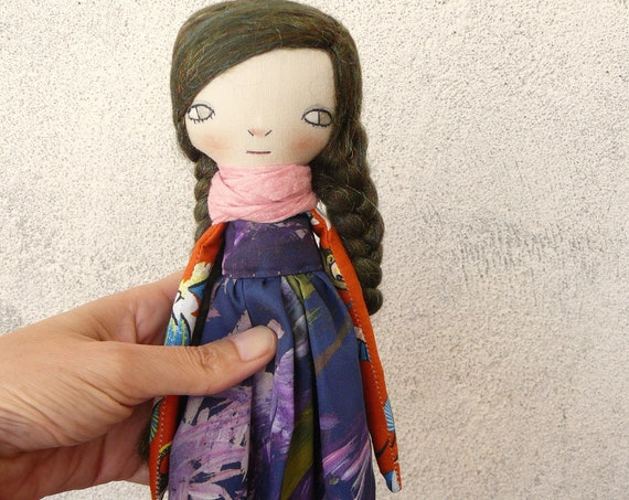 Art doll in cotton and linen. 30 cm. Cloth doll. Fabric doll. Textile  doll. Collectible dolls