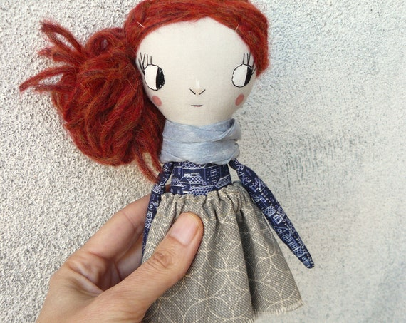 Big eyes Mini art doll. Approx 7,8 inches. Embroidered and painted. Cotton and linen dolls. Mini dolls. Cloth doll. Fabric doll