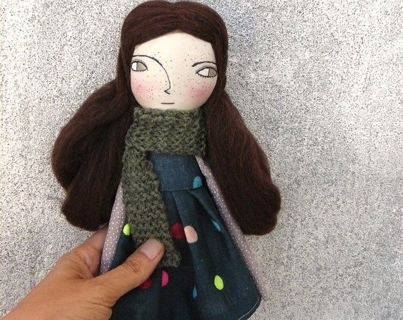 Art doll in cotton and linen. 37 cm. Cloth doll. Fabric doll. Textile  doll. Collectible dolls