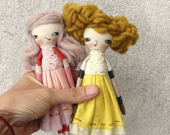 Art doll in cotton and linen. 20 cm. Fabric doll. Cloth doll
