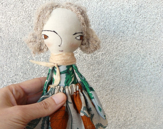 Mini art doll. Approx 7,8 inches. Embroidered and painted. Cotton and linen dolls. Mini dolls. Cloth doll. Fabric doll