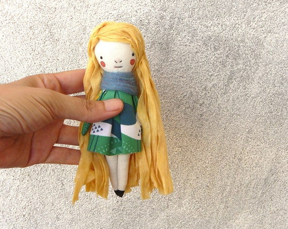 Mini art doll. 6 inches. Embroidered and painted. Cotton and linen dolls. Mini dolls. Tiny dolls