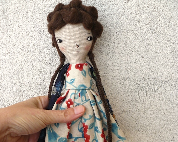 Art doll in cotton and linen. 35 cm. Cloth doll. Fabric doll. Textile  doll. Collectible dolls