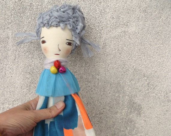 Art doll in cotton and linen. 40 cm. Cloth doll. Fabric doll. Textile  doll. Collectible dolls