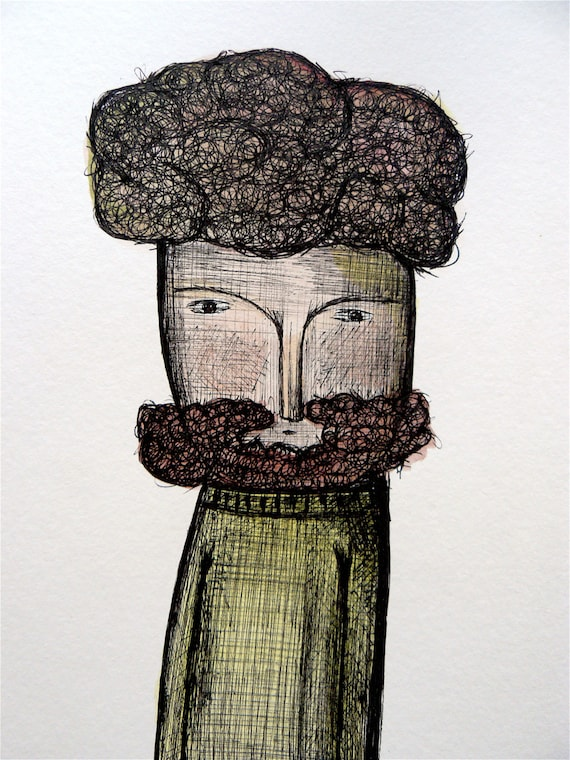Bearded man portrait on watercolor and black ink on paper 370 g