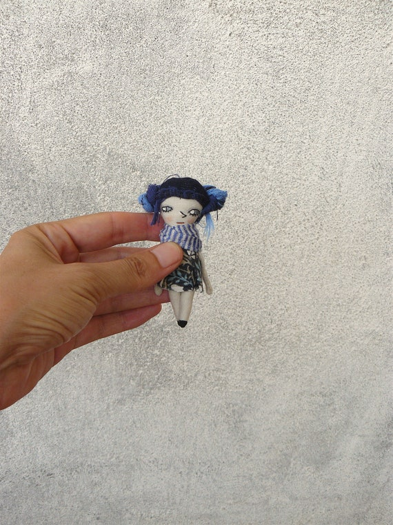 Tiny art doll. 3.1 inches. Embroidered and painted. Cotton and linen doll. Mini dolls. Tiny dolls