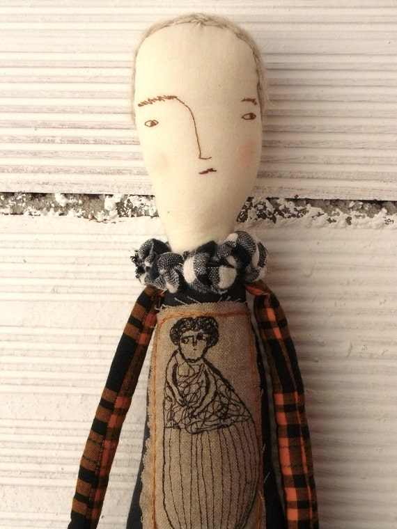 Artistic doll with embroidered portrait of her mother. Alpaca and silk hand embroidery hair. 19 inches
