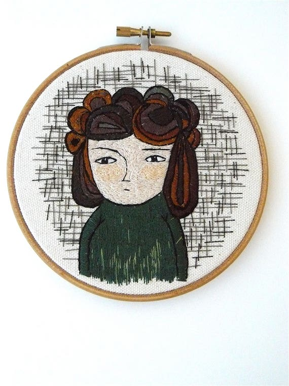 Hand embroidery. Portrait of woman. 13 cm