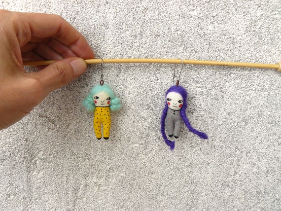 Earrings with tiny embroidered and hand-painted dolls 5 cm. Tiny art dolls. Earrings. Cloth doll. Fabric doll. Art doll