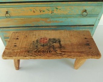 Antique Very Primitive  Childu0027s Footstool Elephant Image Homemade  Wooden Toy Bench Antique Wooden Bench H59