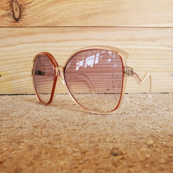 Oversized Square Clear Red Sunglasses, Vintage 19… - image 6
