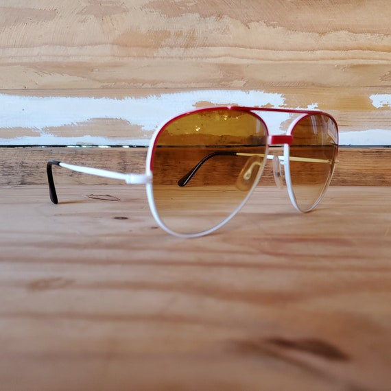 Vintage Red Aviator Sunglasses, 80s Men Women Sun… - image 2