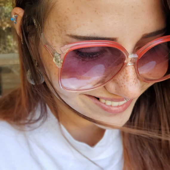 Oversized Square Clear Red Sunglasses, Vintage 19… - image 1