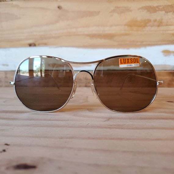 80s Round Aviator Sunglasses, Vintage Man Woman S… - image 1