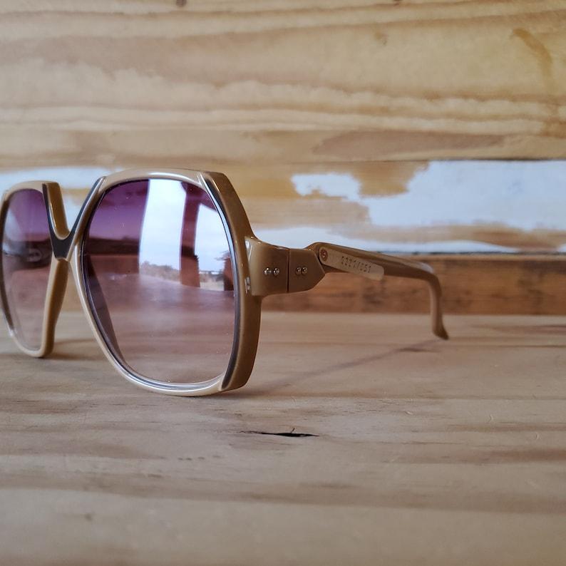 Vintage Oversized Square 70s Sunglasses, Beige Brown Boho Sunglasses, New Old Stock Italian Eyewear
