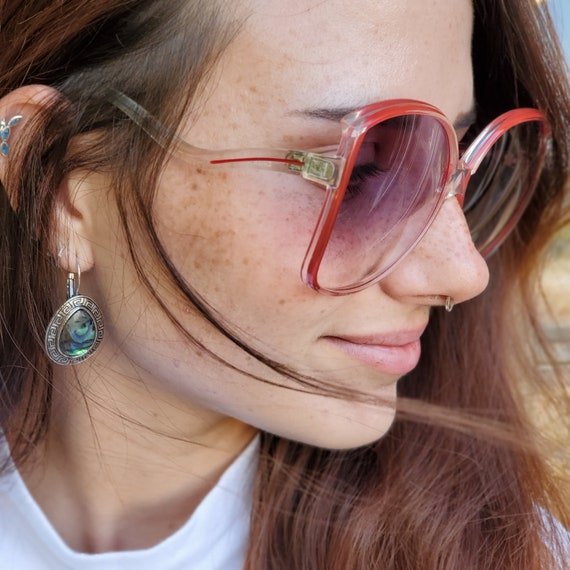 Oversized Square Clear Red Sunglasses, Vintage 19… - image 2