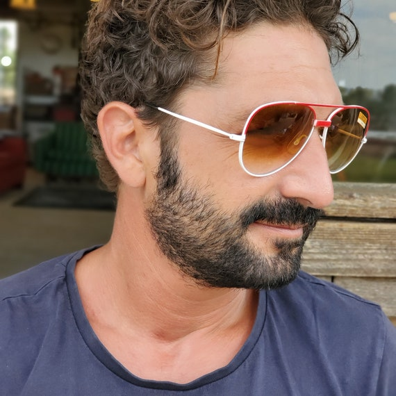 Vintage Men Sunglasses Red Aviator Sunglasses, 70… - image 4