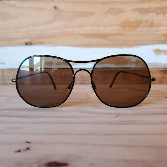 Vintage 80s Black Aviator Sunglasses, Man Woman Ro
