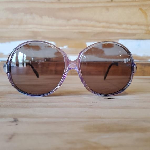 Vintage Purple Woman Sunglasses, 70s Oversized Rou