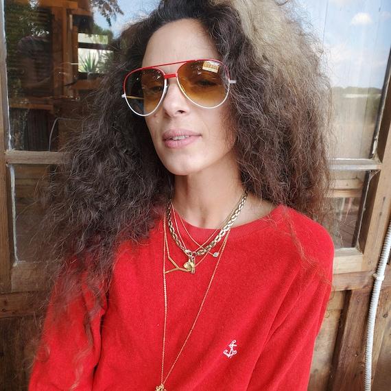 Vintage Red Aviator Sunglasses, 80s Men Women Sun… - image 7