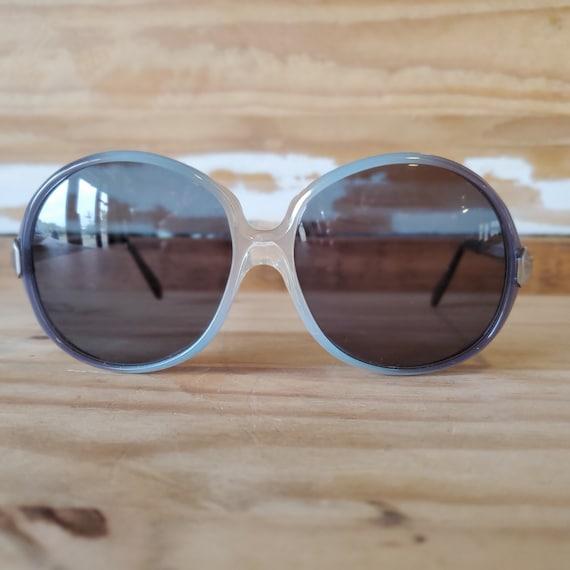 70's Oversized Round Sunglasses, Vintage Blue Woma