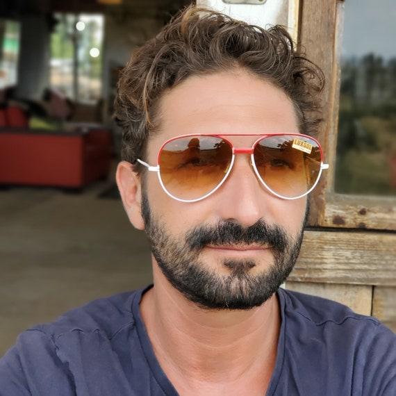 Vintage Men Sunglasses Red Aviator Sunglasses, 70… - image 1